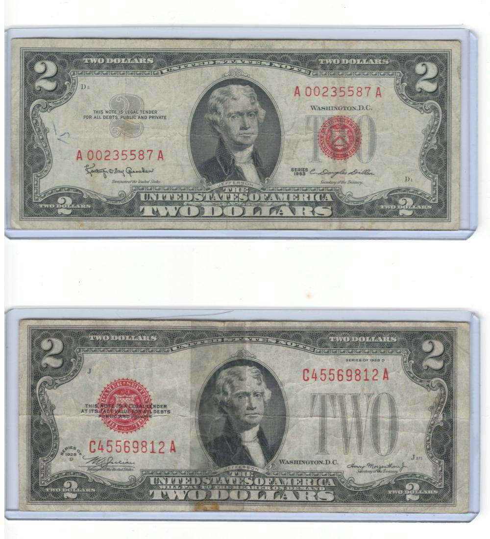 1928 & 1963 Red Seal $2 Bill Two Dollars