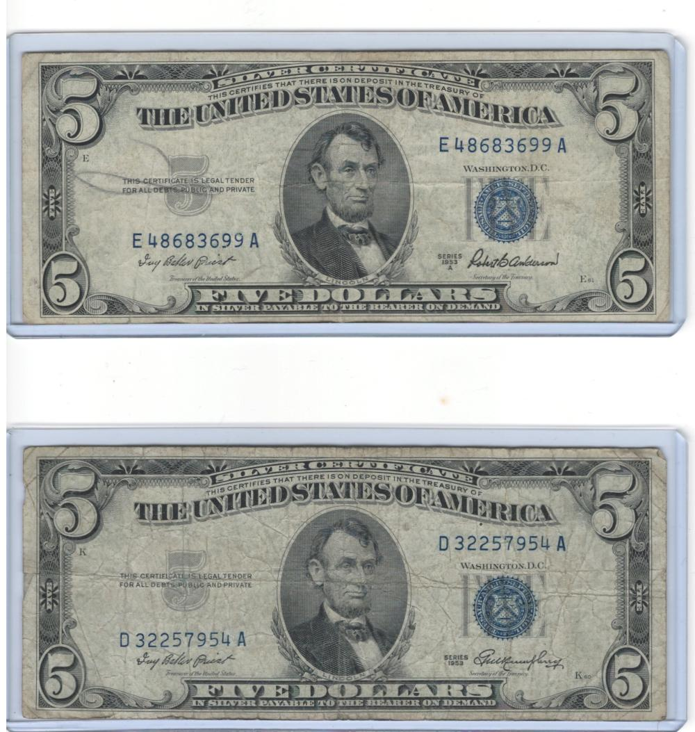 Lot of (2) Two 1953 $5 Five Dollars Silver Certificates