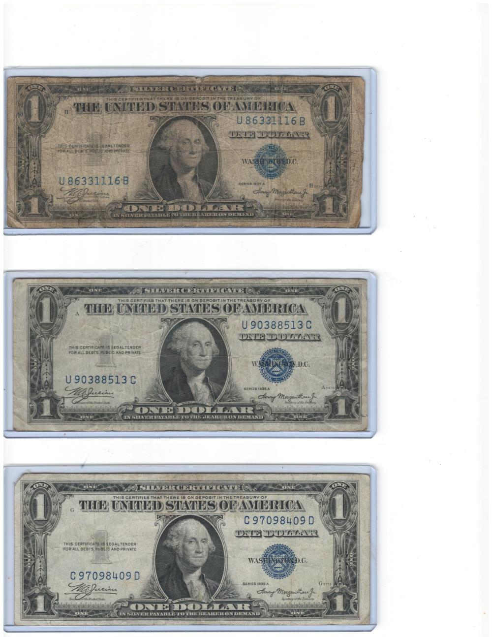 Lot of (3) Three 1935 $1 One Dollar Silver Certificates