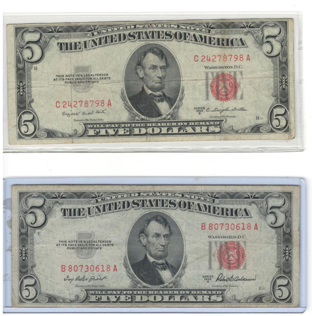 Lot of (2) Two 1953 red seal $5 Five Dollars United States Notes