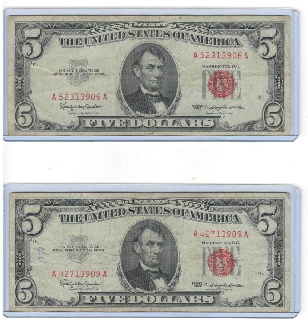 Lot of (2) Two 1963 red seal $5 Five Dollars United States Notes
