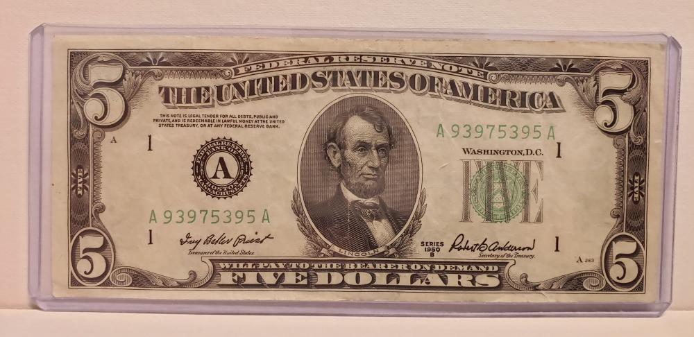 1950 $5 Federal Reserve Note Boston Federal Reserve Bank