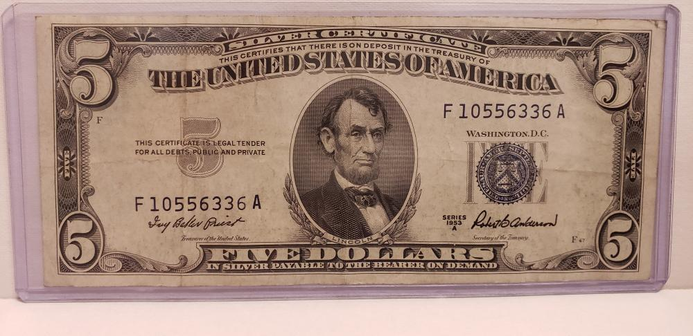 1953 $5 Five Dollars Silver Certificate