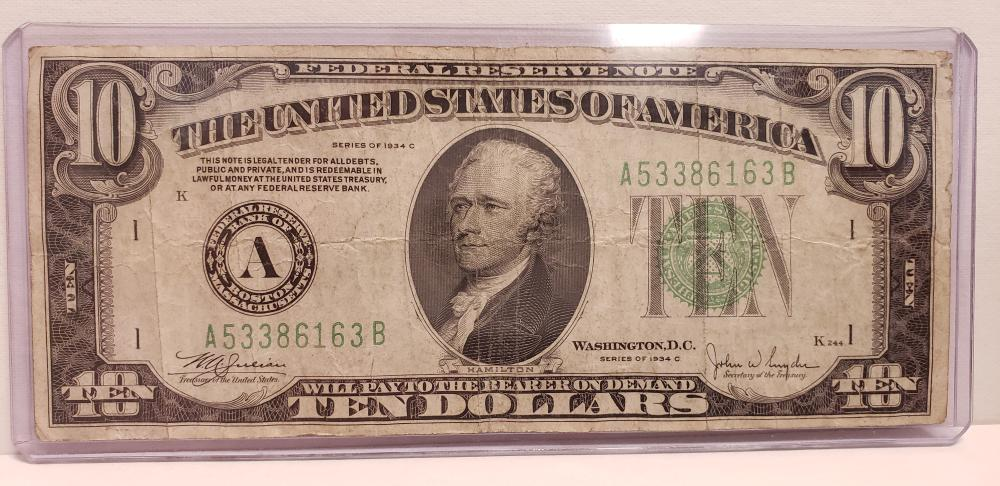 1934 c $10 Ten Dollars Federal Reserve Note