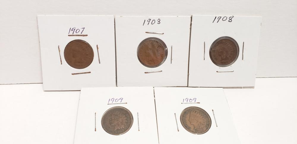 Lot of 5 nice Indian Head Pennies