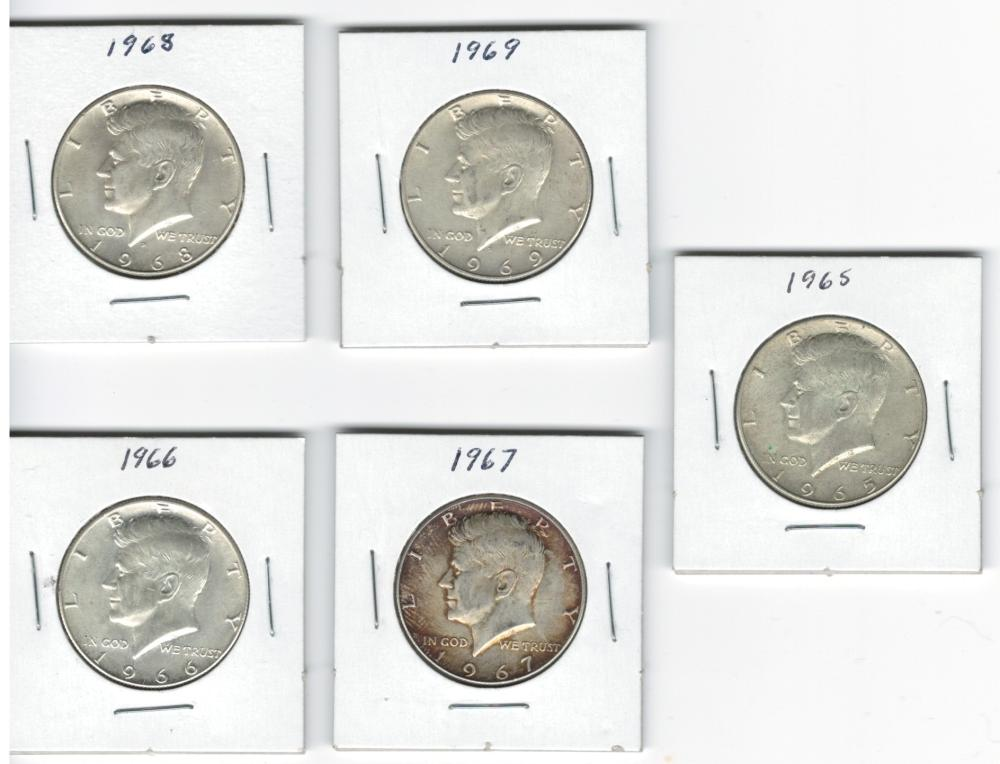 Lot of 5 nice 40% Silver Kennedy Half Dollars