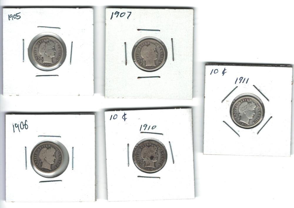 Lot of 5 Barber Dimes