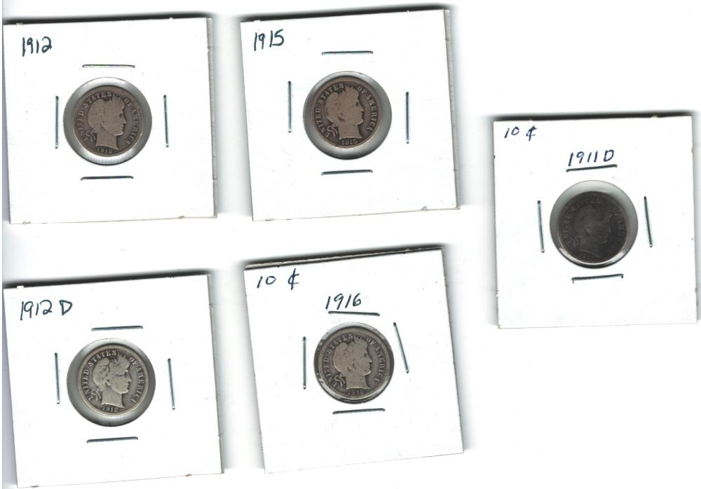 Lot of 5 Barber Dimes 10 cents