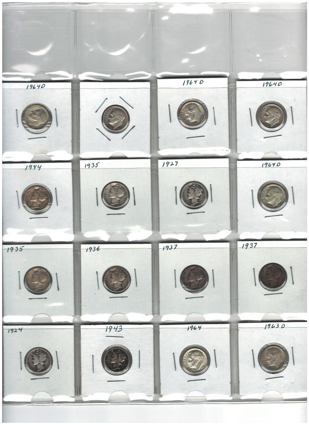 Lot of 16 Mercury and Roosevelt Dimes