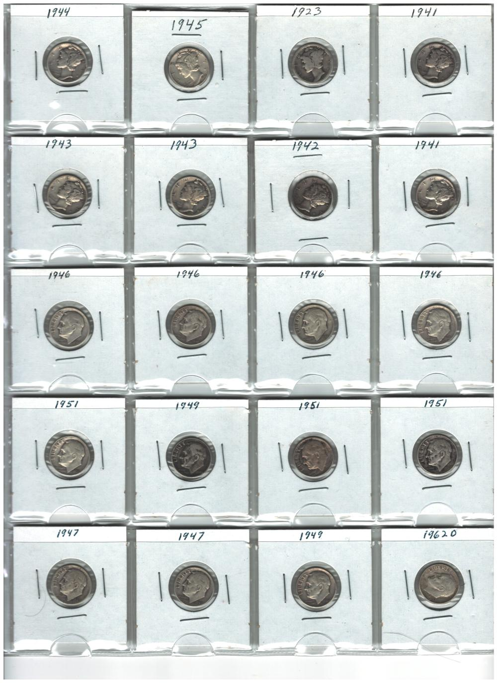 Lot of 20 Silver Dimes Mercury and Roosevelt