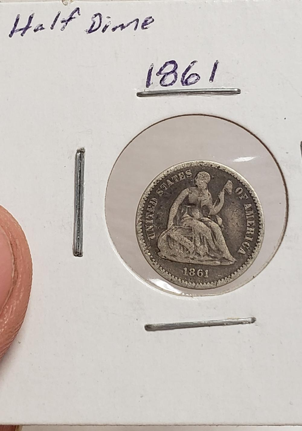 1861 Seated Liberty Half Dime silver