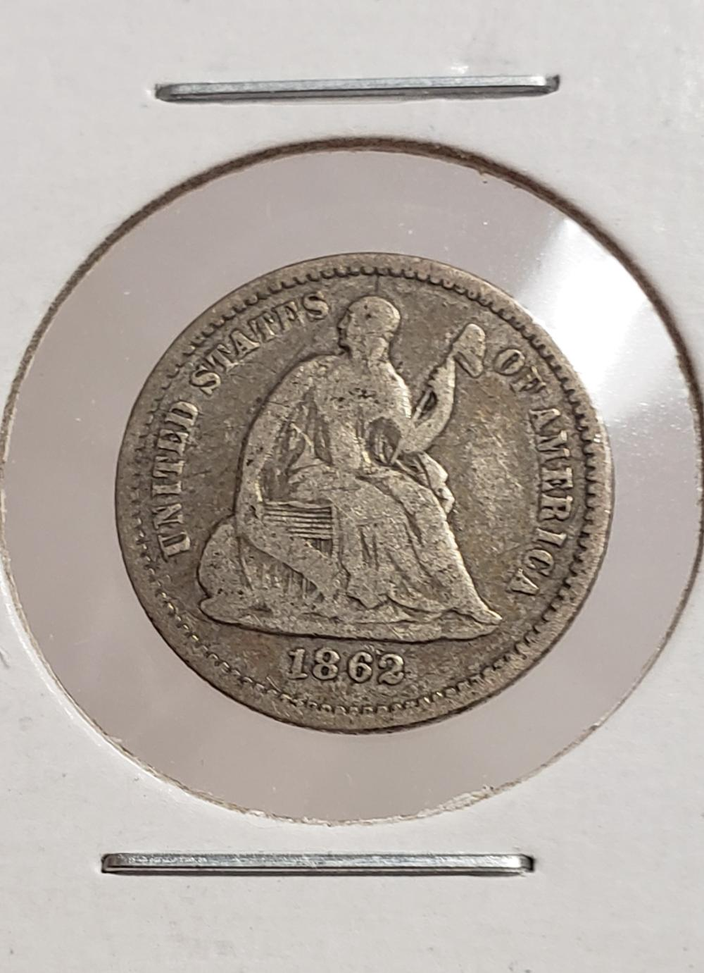 1862 Seated Liberty Half Dime silver