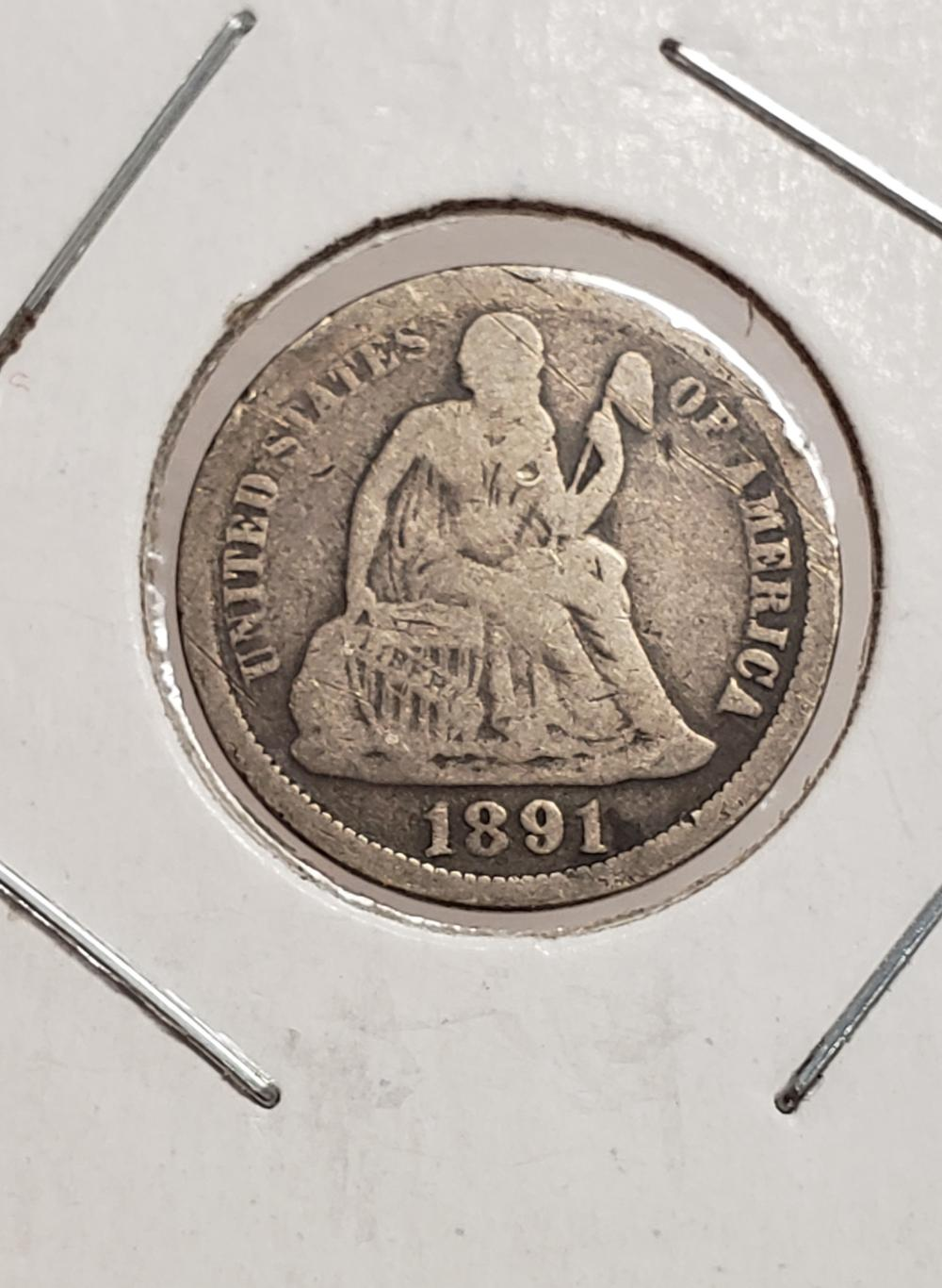 1891 O Seated Liberty Dime 10 cents silver