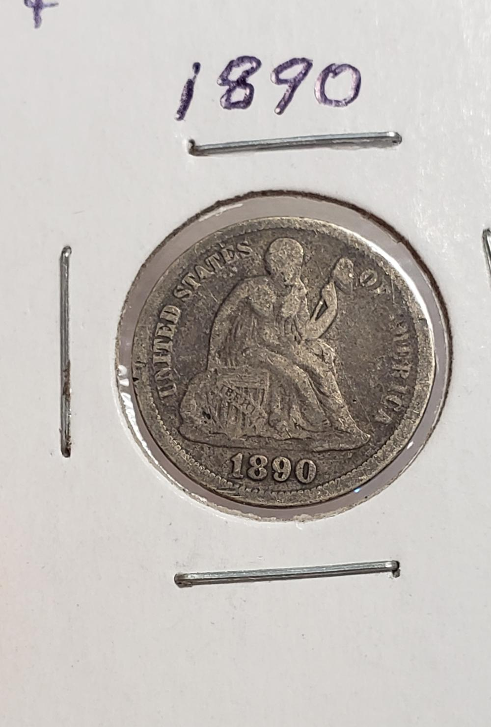 1890 Seated Liberty Dime 10 cents silver