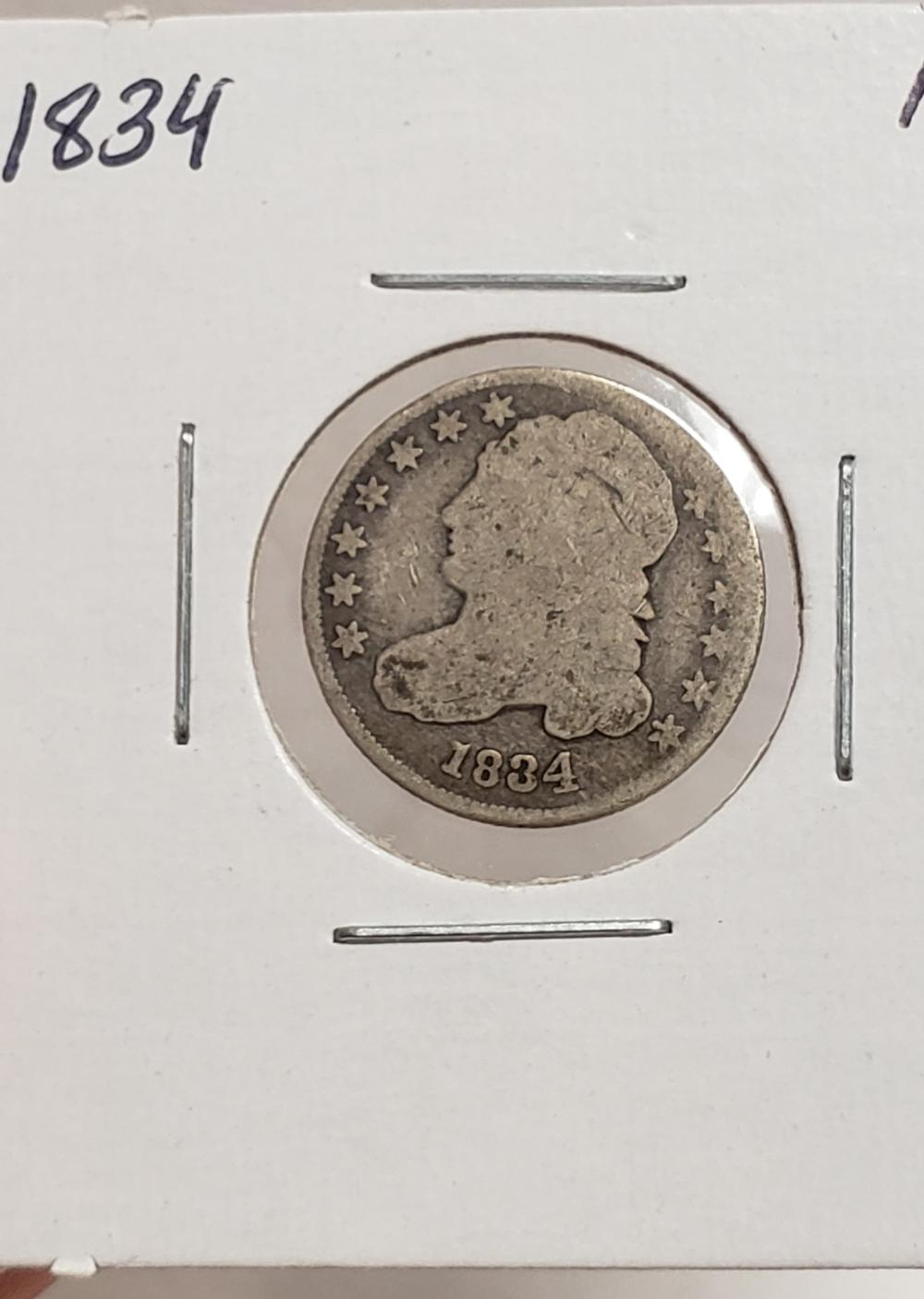 1834 Bust Dime 10 cents silver