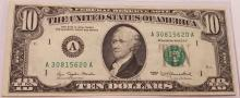 Excellent Condition 1977 $10 Federal Reserve Note Boston FED Bank