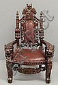 Maitland Smith carved ebonized child's throne, Maitland Smith, Click for value