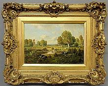 Picault, Claude E. [French, 19th c.] oil on board summer landscape painting with stream, signed l.l.