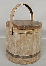 Large wood firkin, 19th c., with original blue/black paint decoration. 15