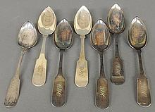 Group of coin silver tablespoons TI 6 by F. (Francis) Curtis, Conn., 9
