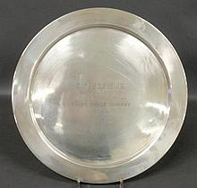 Round sterling silver presentation tray inscribed