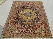 Colorful room size Kerman oriental carpet with center medallion and overall leafy patterns. 8'10