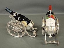 Pair of Sheffield style silverplate cannon-form wine trolleys. 8
