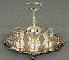 Sterling silver Colonial style inkstand, inscribed verso