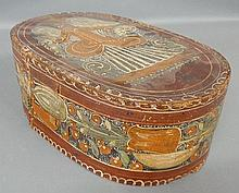 German bride's box, 19th c., with original paint decoration, the lid with an angel and the sides with tulip decoration. 6