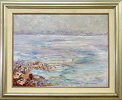 Oil on canvas seascape painting looking over a rocky shoreline, signed l.r.