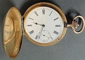Hunter cased 14k gold pocket watch with the works marked