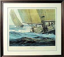 Framed and matted limited edition sailboat race print