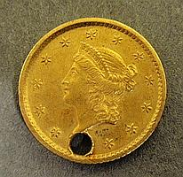 1854 one-dollar gold coin, pierced.