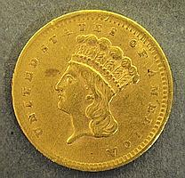 1856 one-dollar gold coin.