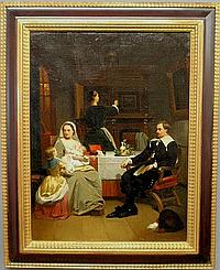 Hollander, Hendrik [Netherlands, 1823-1884] oil on canvas painting of a family at a small breakfast table, the mother holding an infant, signed l.r.