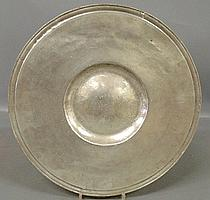 Large English pewter alms plate with early touch marks. 17.25
