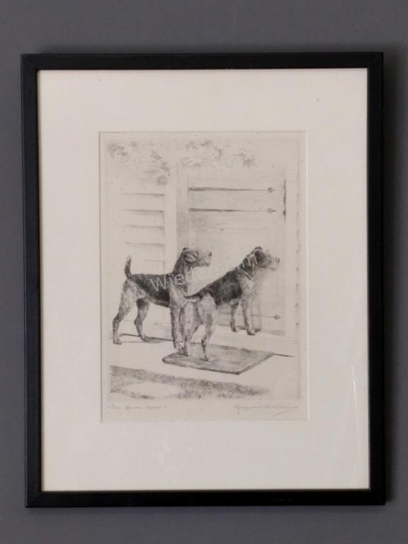 Etching of Two Airedales