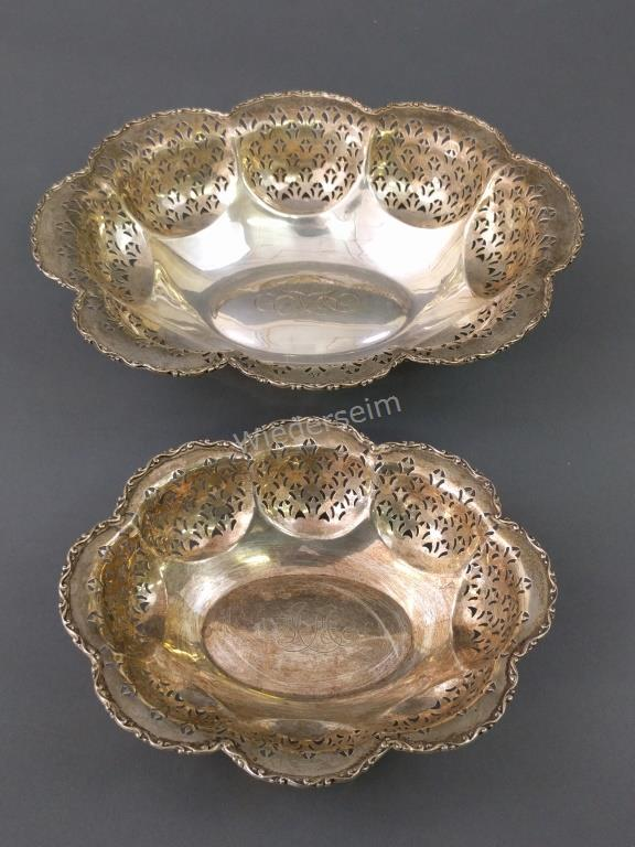 Two English Silver Lobed Dishes