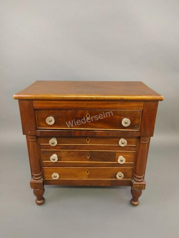 Late Sheraton Cherry & Mahogany Miniature Chest