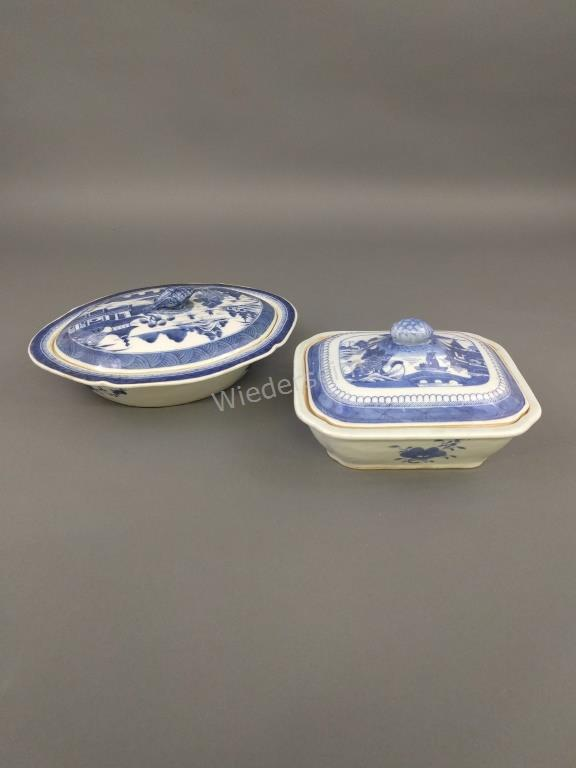 Canton Porcelain Oval Covered Vegetable Dish, etc.