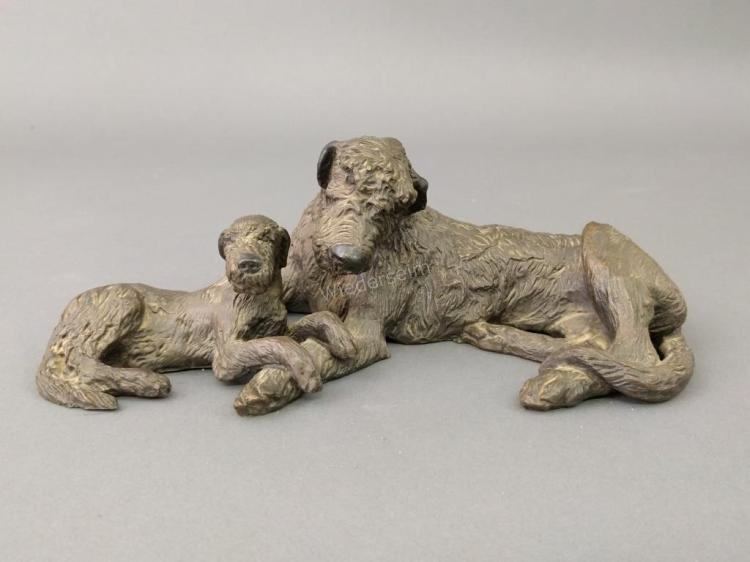 Bronze Sculpture of an Irish Wolfhound and Pup