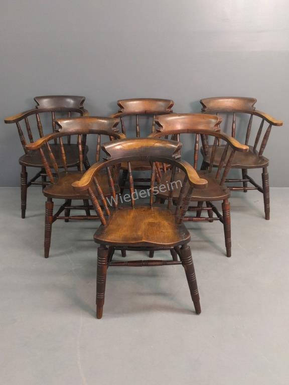 Six English Windsor Barrel-back Pub Chairs