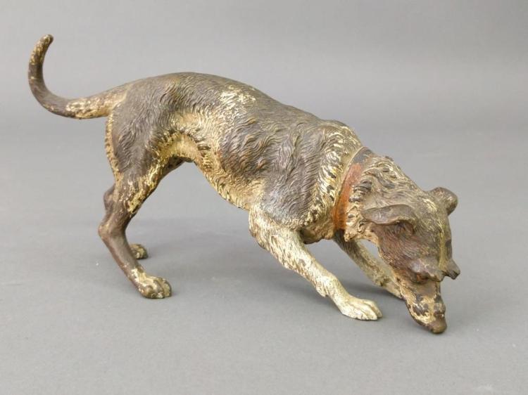 Cold-painted Bronze Irish Wolfhound Sculpture
