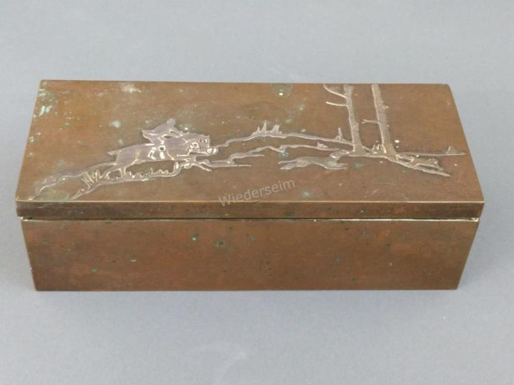 Heintz Sterling on Bronze Box with Hunting Motif