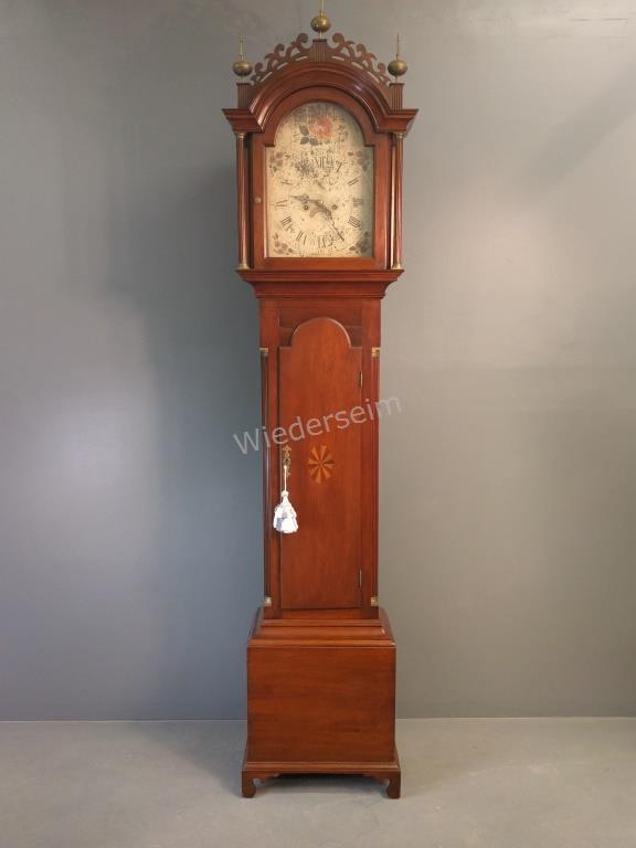 New England Inlaid Mahogany Tall Case Clock