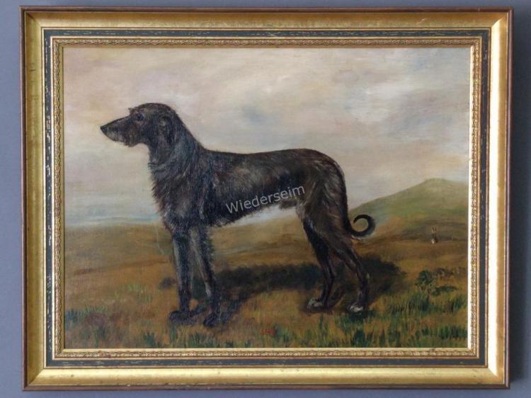 Portrait of a Scottosh Deerhound by L. Foster