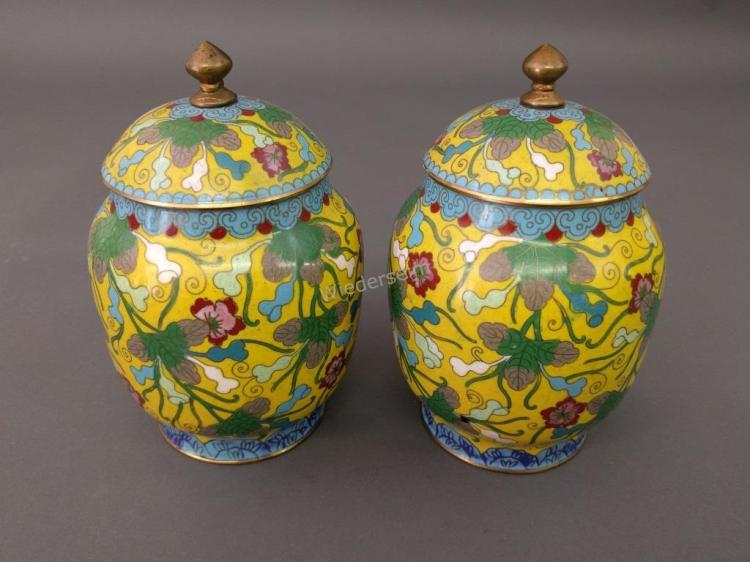 Pair Cloisonne Covered Urns