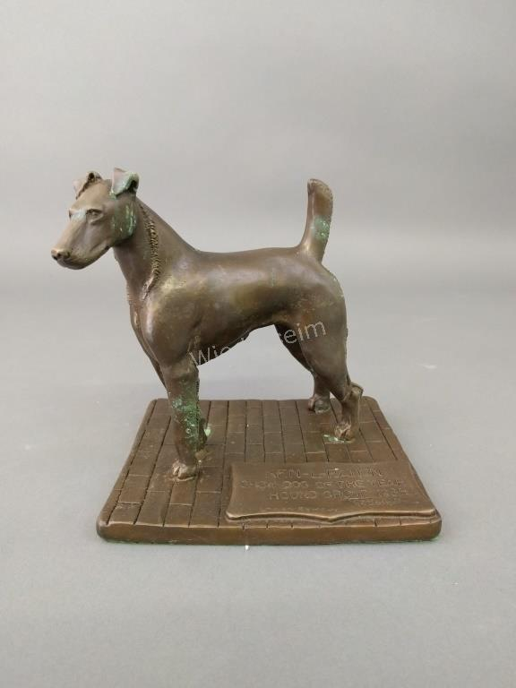 Bronze of a Dog signed C.F. Warren Remedy
