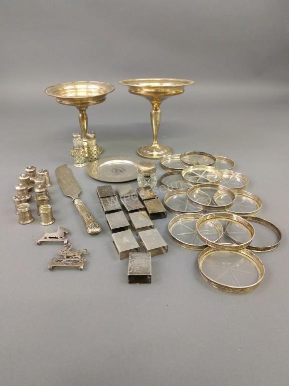 Sterling Silver Tableware and Two Compotes