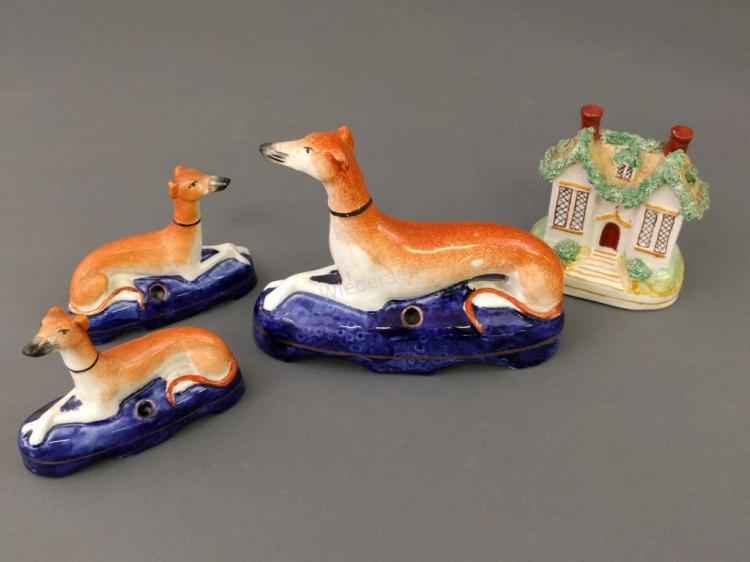 Three Staffordshire Whippet Penn Holders